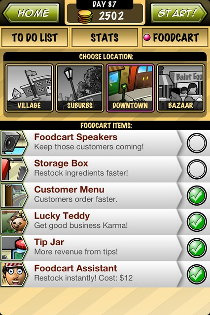 Streetfood Tycoon Foodcart options