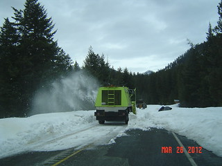 Clearing snow from the east side - North Cascades Highway