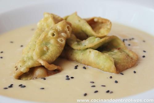 Crema de vigilia y pestiños de espinacas y manchego (1)