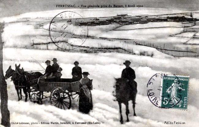 paysage hivernal et neige dans le Massif Central le 8 avril 1910 météopassion