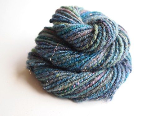 SAG-mystery batt-1.2oz-gift from Shelby-hand carded by me-semi woolen spun-50yds