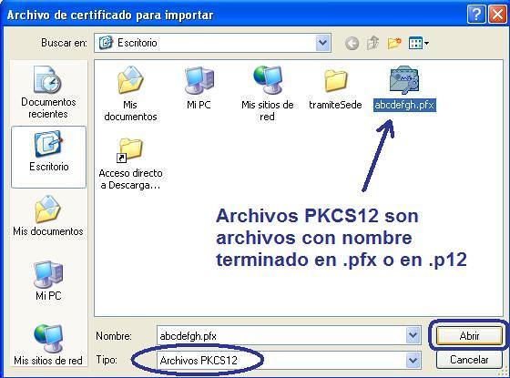 Seleccionar archivo del certificado