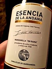 Esencia de la andana - Vino Manzanilla en rama - Restaurante Mina - Bilbao