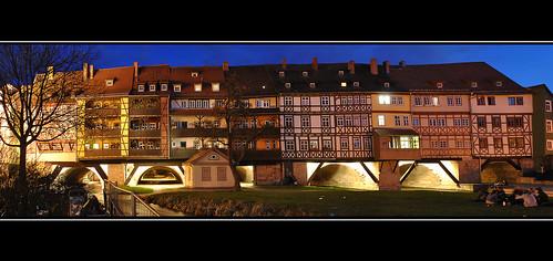 panorama night nacht erfurt krämerbrücke hugin