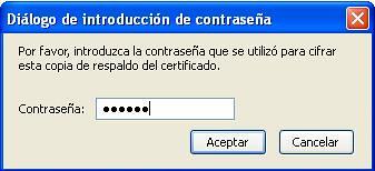 Imagen pide clave cuando importar certificado