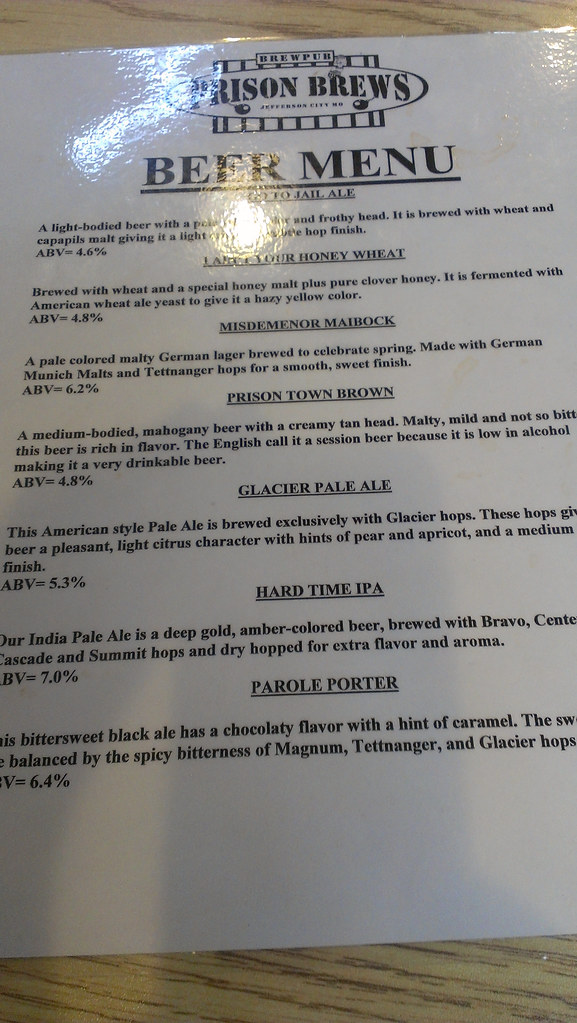 Prison Brews Beer Menu