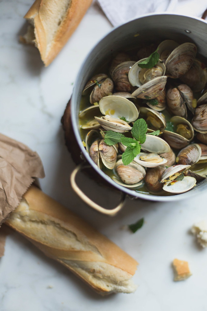 clams in chardonnay saffron mint broth