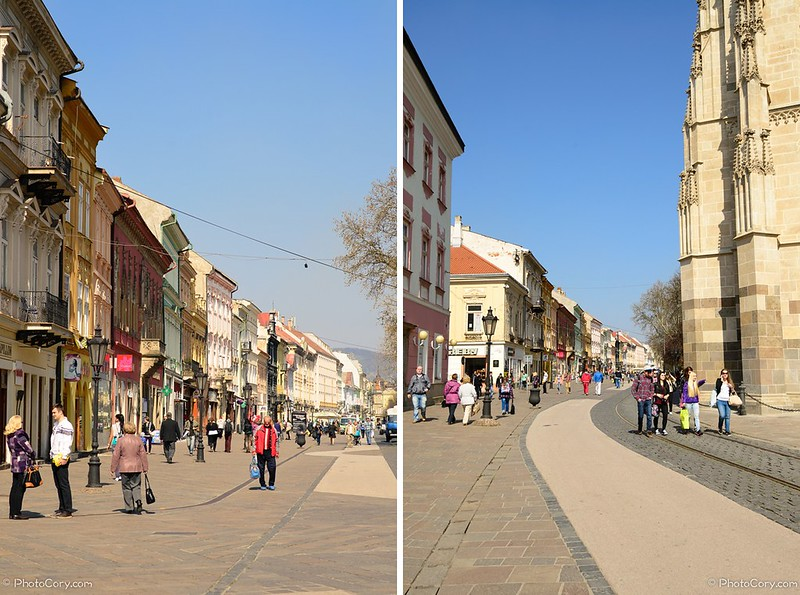 the Main Street in Kosice, near St Elizabeth cathedral
