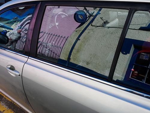 pink man reflection car newcastleemlyn