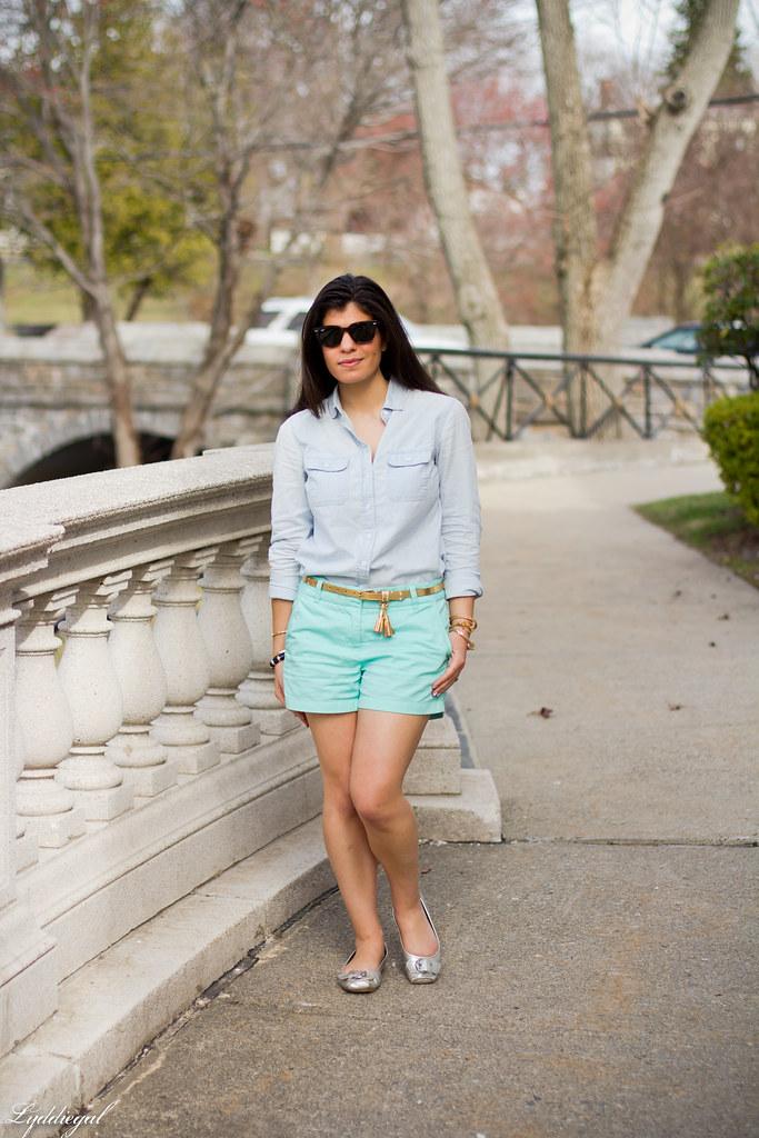 chambray shirt, turquoise shorts.jpg