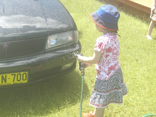 Helping Dad wash the car