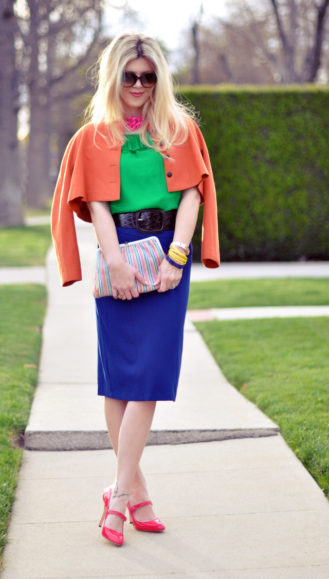 technicolor outfit - pencil skirt- manolo blahnik mary janes