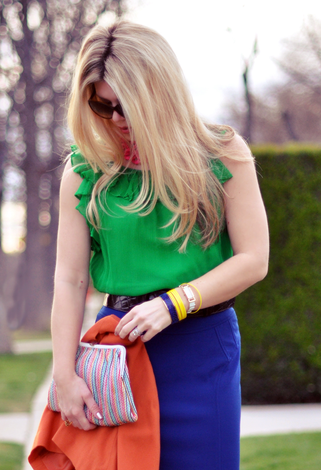 green blouse - blue skirt- orange jacket