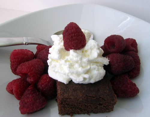 Brownie w/ Raspberries & Cream