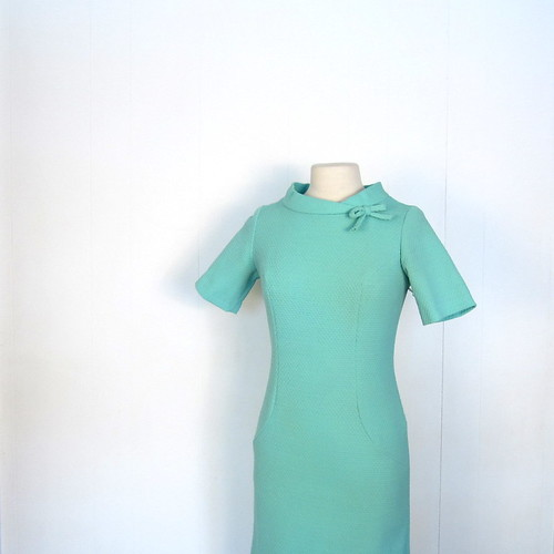 1960s robin's egg blue piqué dress with roll collar and bow