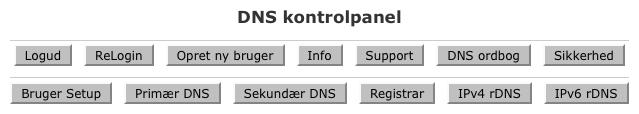 DNS kontrolpanelets hovedmenu
