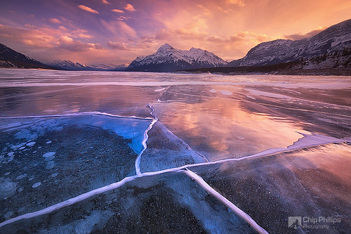 park winter sunset lake canada ice rockies rocky abraham national alberta banff cracks