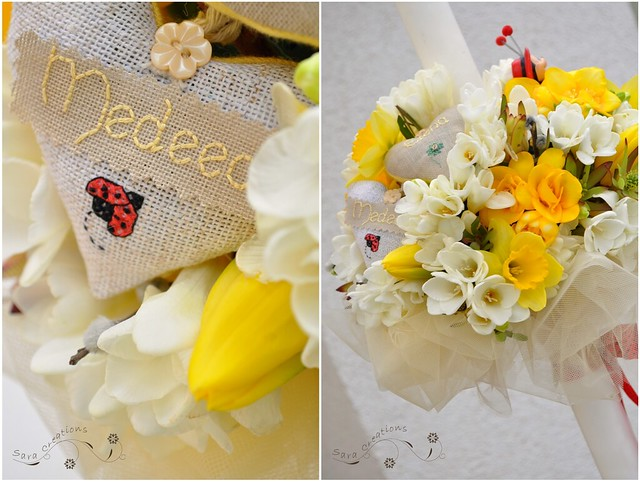 "Ladybug christening candle with personalized hearts - Lumanare botez "" buburuza ""cu inimioare personalizata"