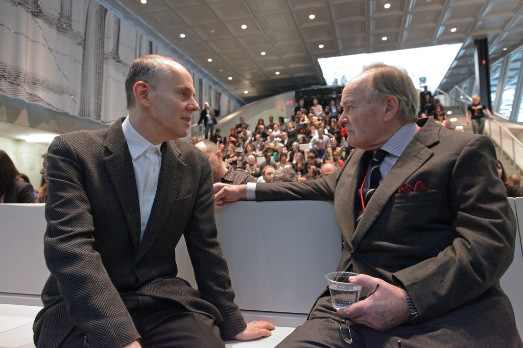 Kent Kleinman, AAP dean, with Lord Peter Palumbo in the Abby and Howard Milstein Auditorium.