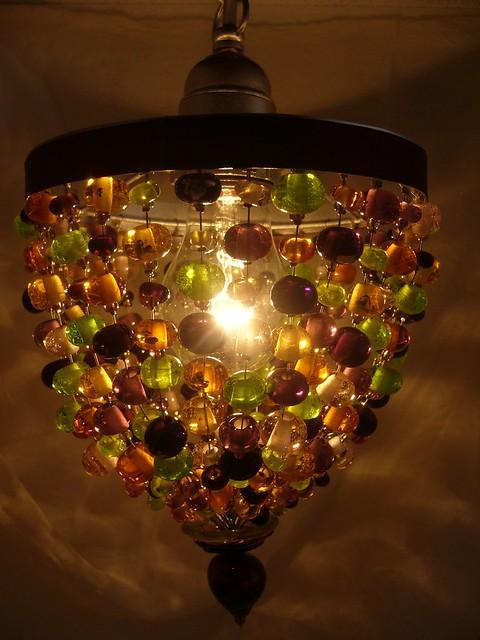 5A Loupiote ambre amethyste et verte en verre de Murano