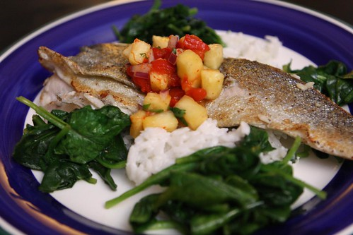 Pan Roasted Panamanian Brook Trout with Pineapple Salsa, Coconut Rice, and Sauteed Spinach