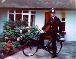 Metropolitan Police 'Z' District Home Beat Officer, Cheam, (nr Sutton) Surrey, UK. Circa 1976.