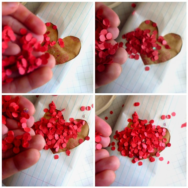 Confetti Hearts Gift Wrap using recycled paper from a hole punch