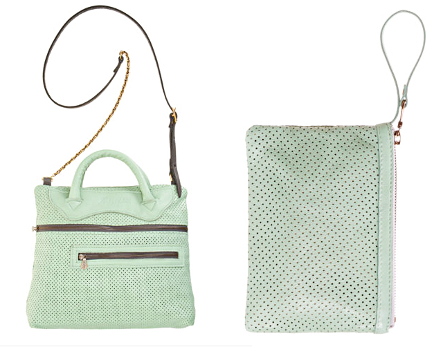 mint green perforated bag and wristlet
