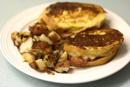 Stuffed french toast with hashbrowns