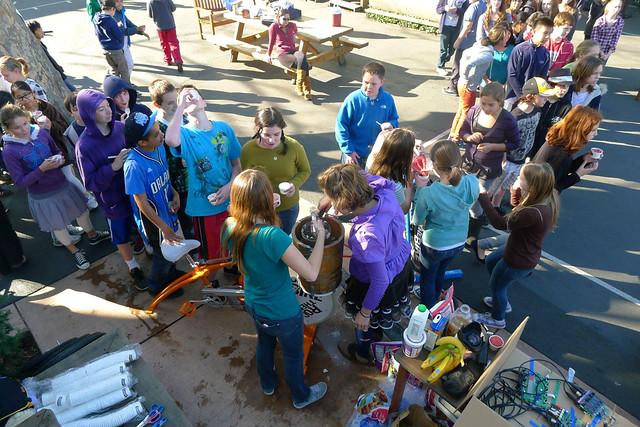 school kids pedal power ice cream