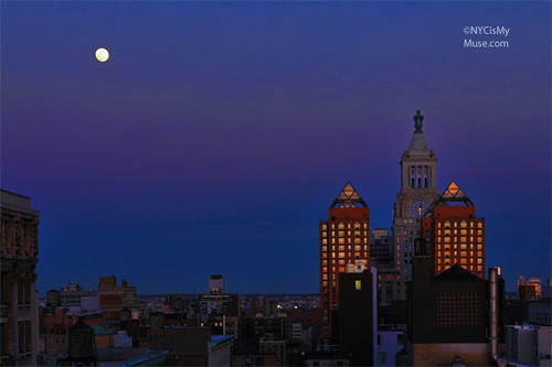 Nearly Full Moon over Con Edison Clock Tower Union Square NYC