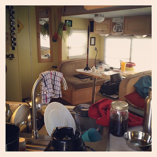 10 minutes to clean up...but only 5 to get dirty again ;) #rv #travel