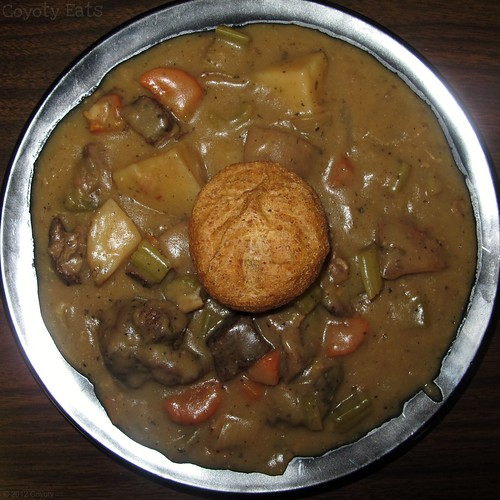 Beef stew and wheat dinner roll by Coyoty