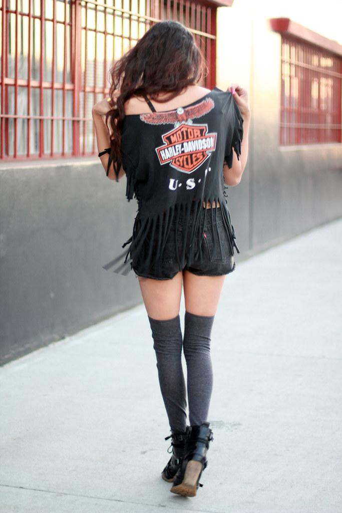 Vtg Fringed Harley Davidson Crop