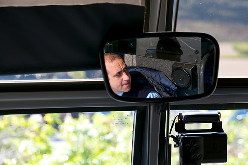 Point Reyes Tour Bus Driver in the Mirror