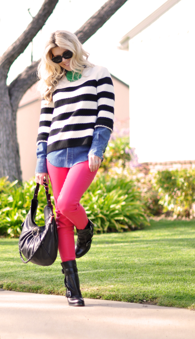 bright pink jeans -stripes-boots