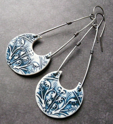 Athena Earrings - Porcelain & Sterling