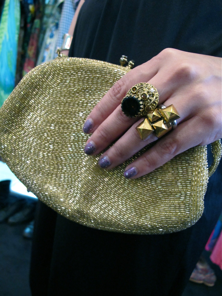 Fash Glam! 1960s gold beaded purse; 1950s gold-plated European rings.