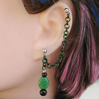 Black and Green Shamrock Cartilage Chain Earring