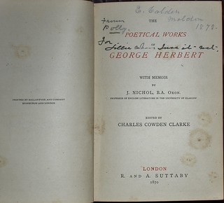 Herbert's Works 1870 - title page and Calder inscription