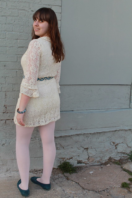 "Babyshower outfit: thrifted ""blue suede shoes"" moccasins, pink ballet tights by Capezio, white lace dress from Modcloth, thrifted denim braided belt with Longhorn buckle, rhinestone feather bangle, silver bangles, two-tone diamond watch by Citizen, DIY me"