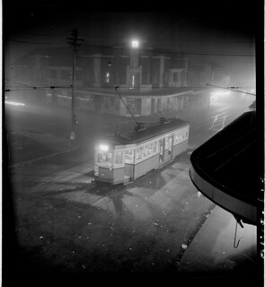 Night fog, Chatswood  tram, July 1950, from Series 02: Sydney people & streets, 1948-1950, photographed by Brian Bird
