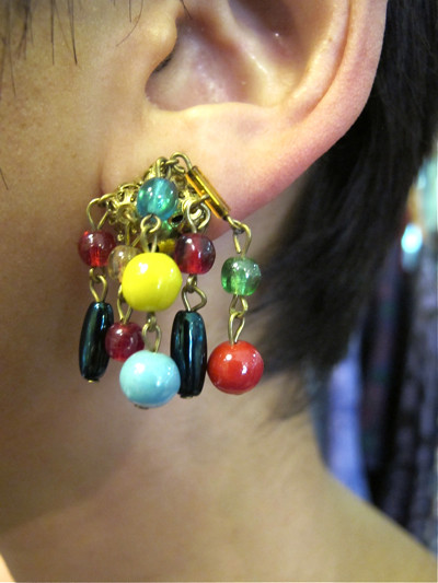 Dingle dangle bright beaded 1950s bunch earrings