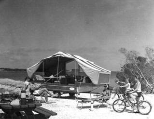 Family with their travel trailer: Monroe County, Florida