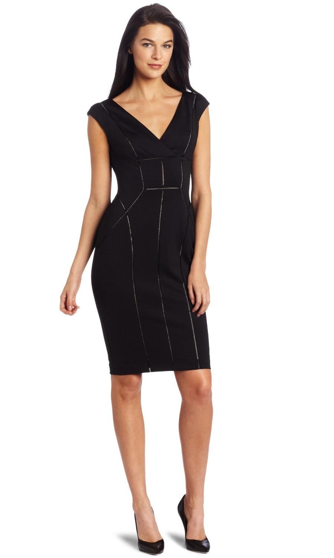 Maggy London Women's V Neck Techno Stretch Dress