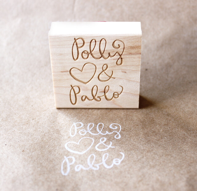 Wedding Rubber Stamps: Custom / Personalized Couple Wedding Wooden Rubber Stamp