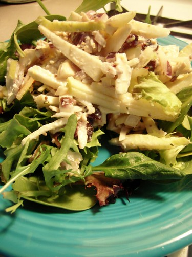 Celery Root & Chicken Salad on Bed of Greens