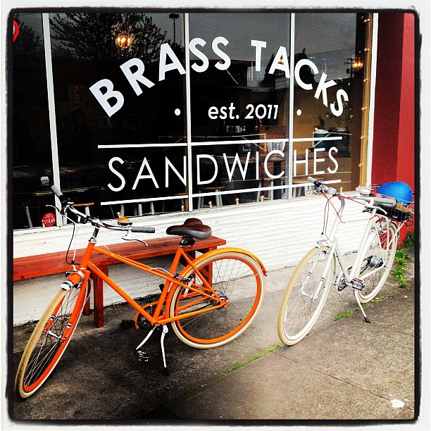 My favorite sandwich shop with my favorite guy and our bikes #bike #publicbikes