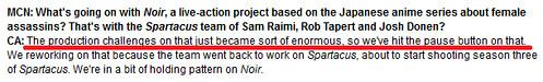 120328(2) - 改編自同名美少女殺手動畫的真人影集《NOIR》被打入冷宮。由「柯林·法洛」主演的2012年版《魔鬼總動員 → 攔截記憶碼》公開預告片的預告片!