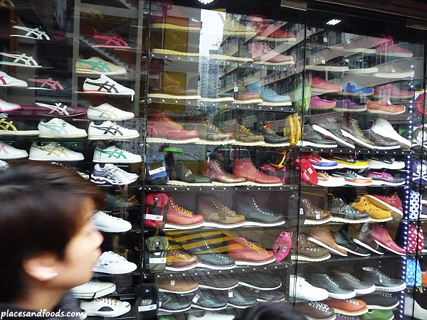 Sport shoes on display at Fa Yuen Street.
